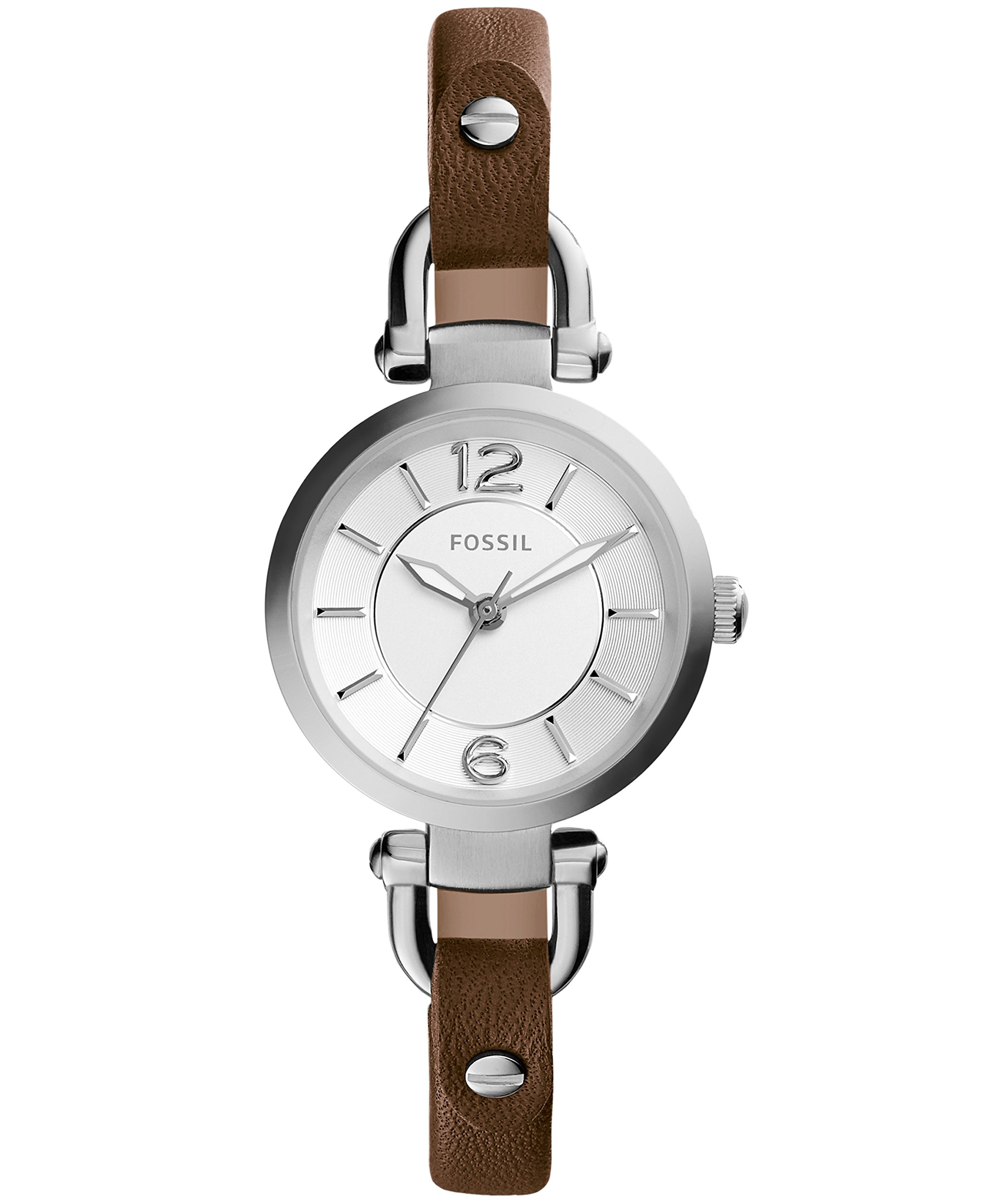 Fossil Women's Mini Georgia Quartz Stainless Steel and Leather Casual Watch, Color: Silver, Brown (Model: ES3861) by Fossil