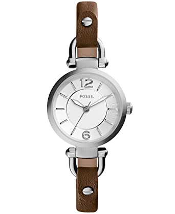 bfe4e3d87 Fossil Women's Mini Georgia Quartz Stainless Steel and Leather Casual Watch,  Color: Silver,