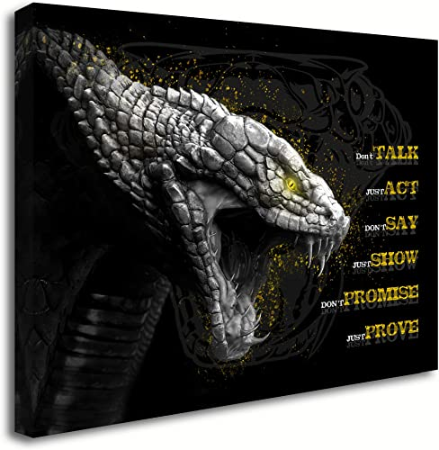Blueyearn Motivational Wall Art Cobra Picture Inspirational Canvas Painting Positive Quotes Posters Prints Modern Artwork
