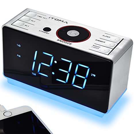 iTOMA - Despertador Digital con Radio y Bluetooth, Radio FM, Alarma Dual con repetición