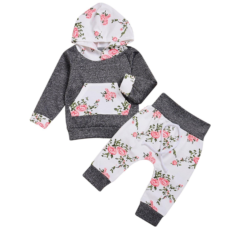 Neonato Bambina Manica Lunghe Cappuccio Vestiti cappotto floreale Top Felpa & Pantaloni Due Pezzi Suit