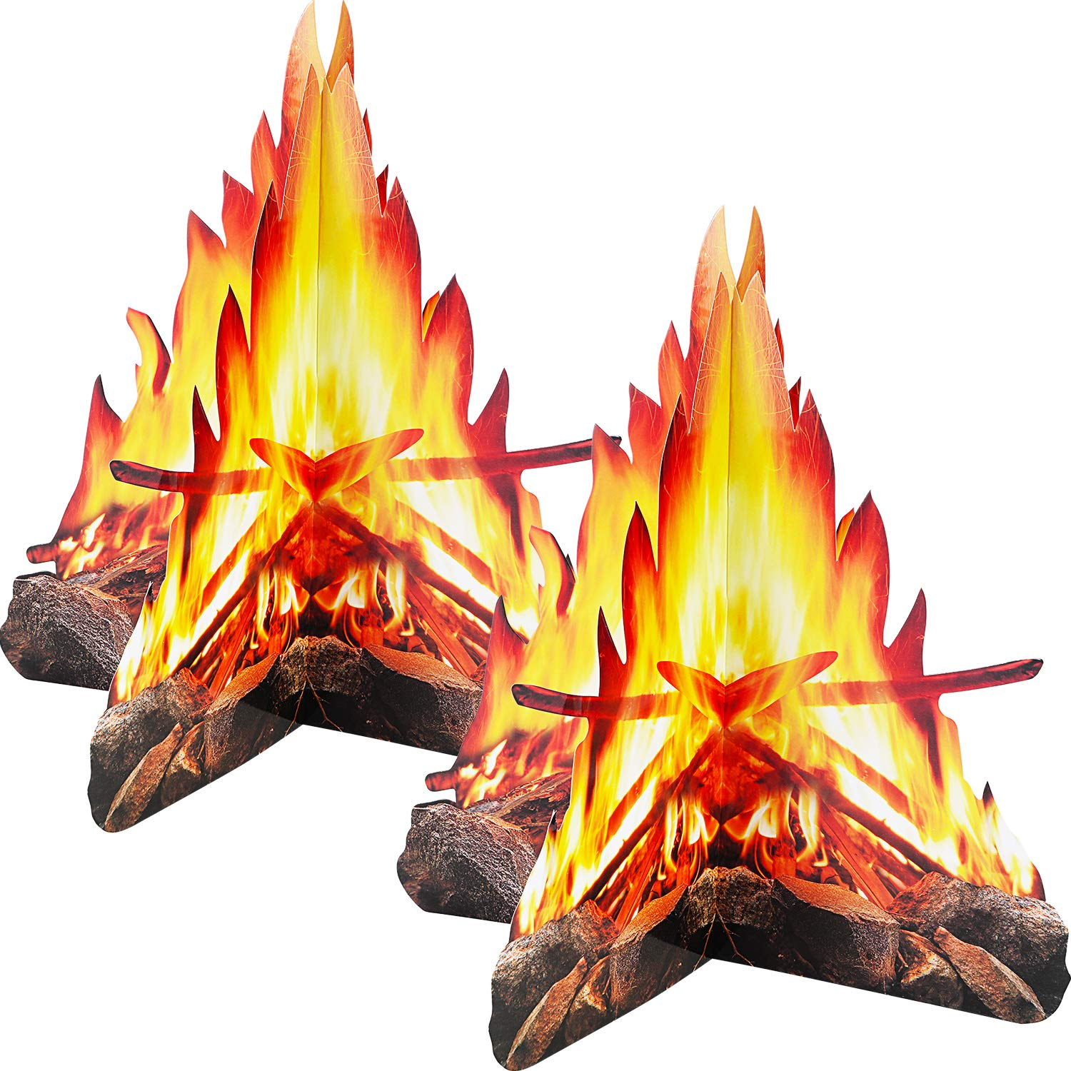 Tatuo 12 Inch Tall Artificial Fire Fake Flame Paper 3D Decorative Cardboard Campfire Centerpiece Flame Torch for Christmas Party Decoration, 2 Set