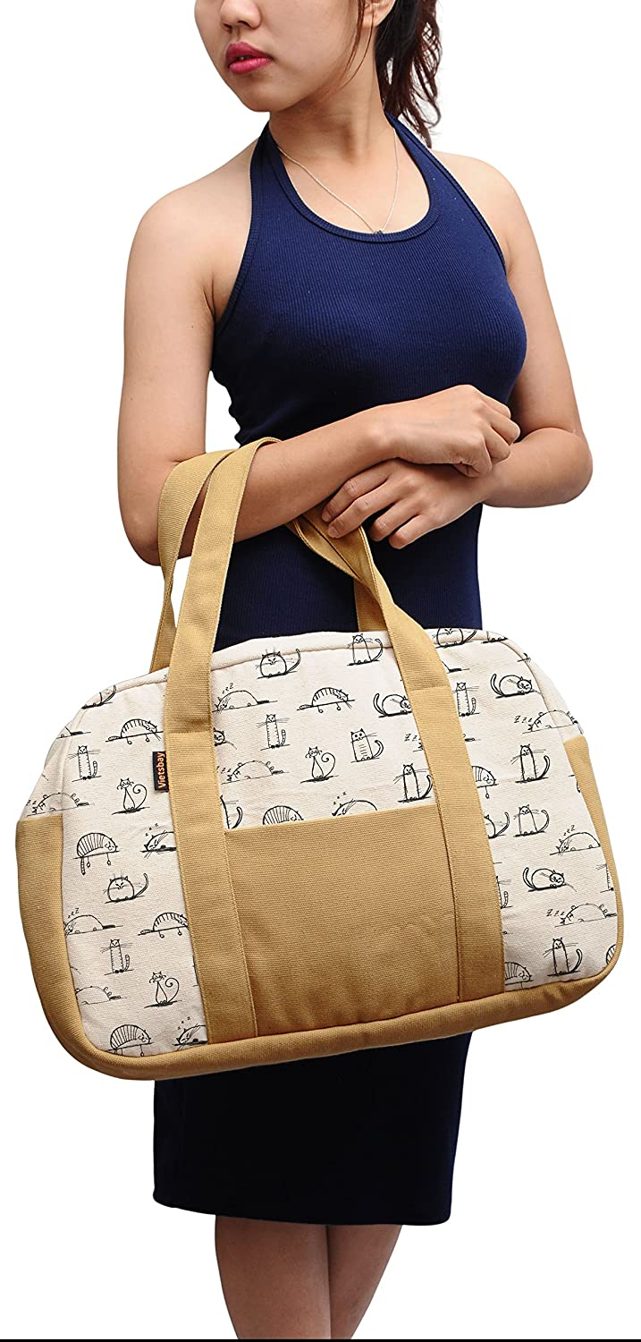 Womens Watercolor Cat Pattern Printed Canvas Duffel Travel Bags WAS/_19