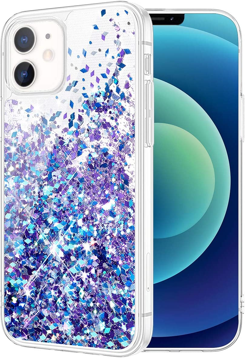 Caka Case for iPhone 12 Mini Glitter Case for Women Girls Liquid Bling Sparkle Luxury Flowing Glitter Quicksand Clear Transparent Soft TPU Case for iPhone 12 Mini 5.4 inch (Blue Purple)