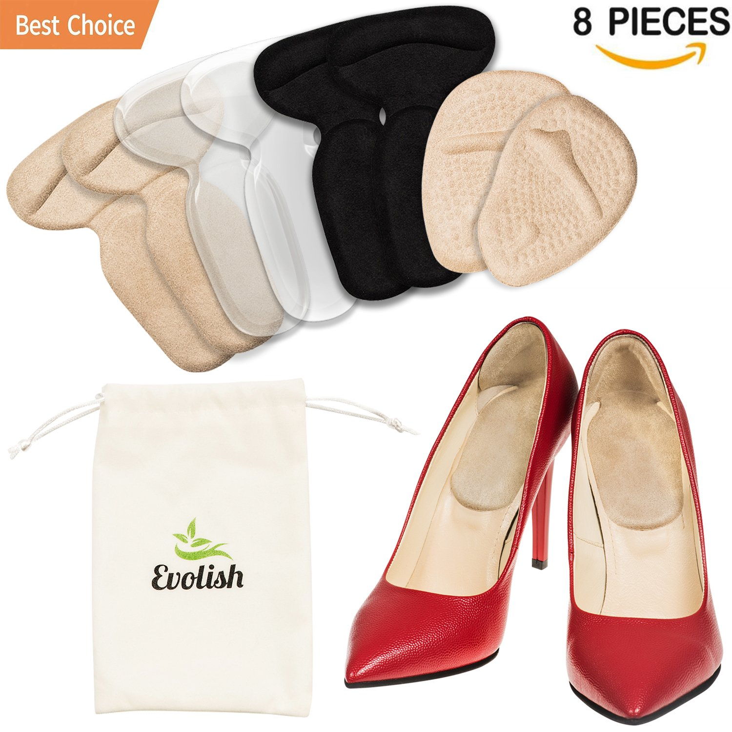 High Heel Cushion Inserts for Women (8 pcs) | High Heel Pads | High Heel Grips | Shoe Heel Liners Non Slip Shoe Filler for Too Big Shoes Heel Insoles for Blisters Pain Relief by Evolish (Mix)