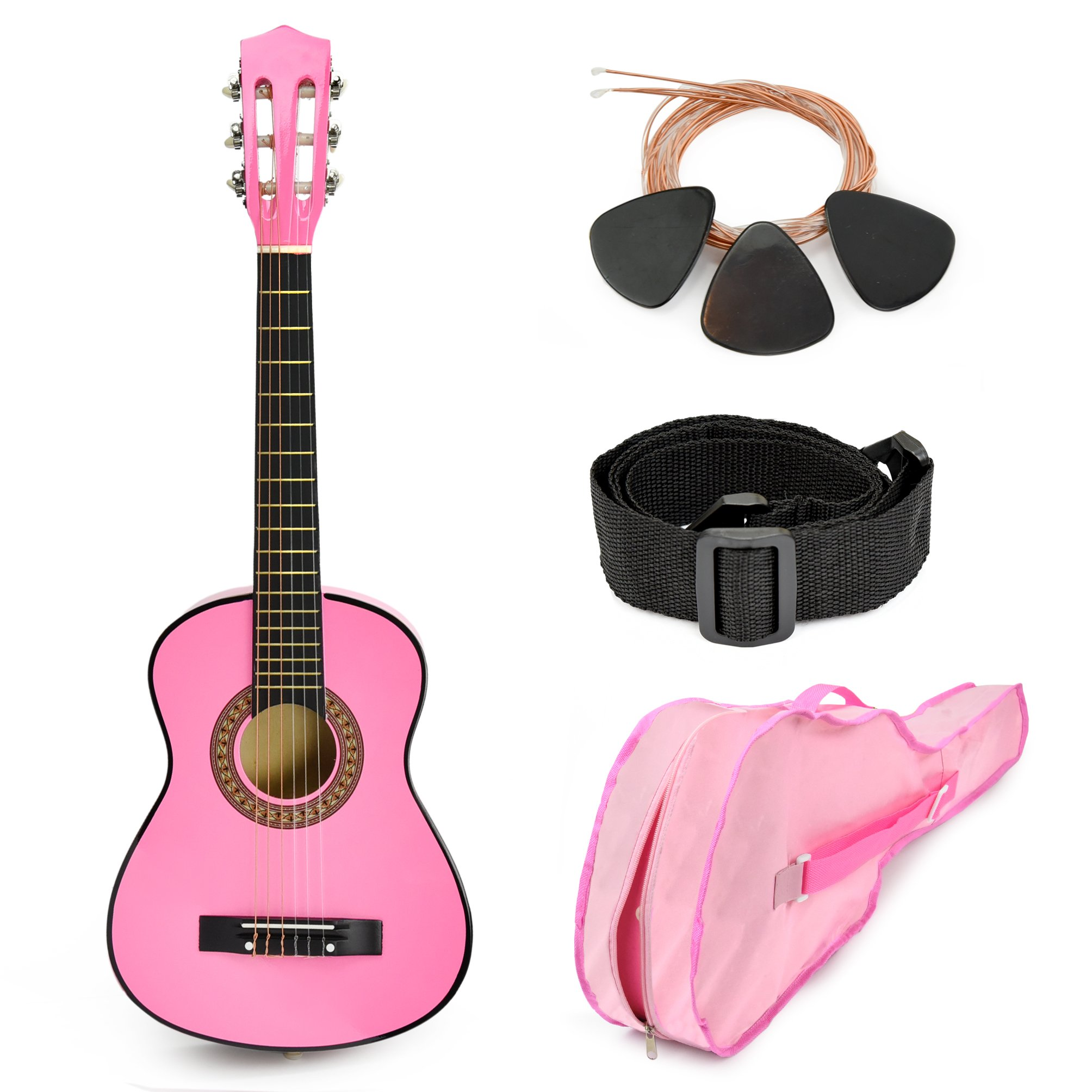NEW! 30'' Pink Wood Guitar with Case and Accessories Great Gift for Kids / Girls / Beginners (Standard) by Master Play
