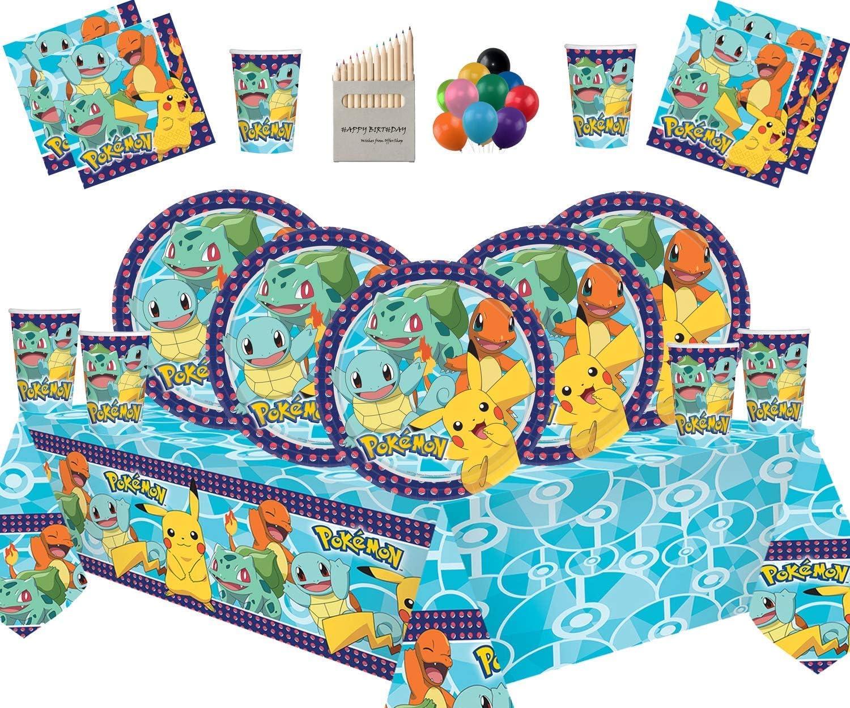 Decoración de la Fiesta de cumpleaños Infantil de Pokemon: Platos Copas Servilletas Cubiertas de Mesa con Paquete de Globos Gratis para 16 Invitados: Amazon.es: Juguetes y juegos