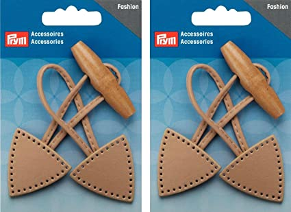 Prym Duffle Coat Toggle Closure Button Beige Leather Twin Pack