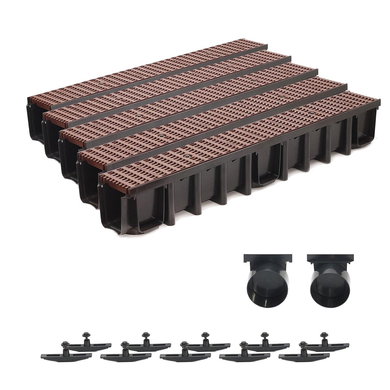 5m Entwässerungsrinne 148mm Einlaufkasten Stegrost Kunststoff inkl. Zubehör (braun)