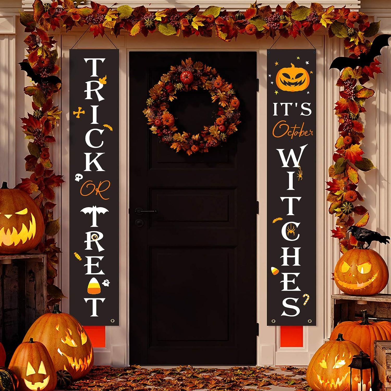 JOYIN 2 Halloween Spooky Boo Trick or Treat Door Triple Signs Party Decorations for Doors Walls Hanging Decor Halloween Festivities