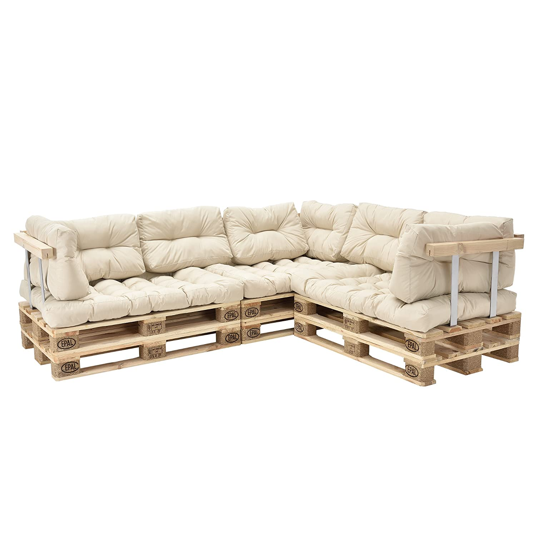 [en.casa] Euro Paletten-Sofa - DIY Möbel - Indoor Sofa mit Paletten-Kissen Wintergarten (3 x Sitzauflage und 8 x Rückenkissen) Beige - inkl. 6x Europalette + 3x Rückenlehne + 3x Armlehne