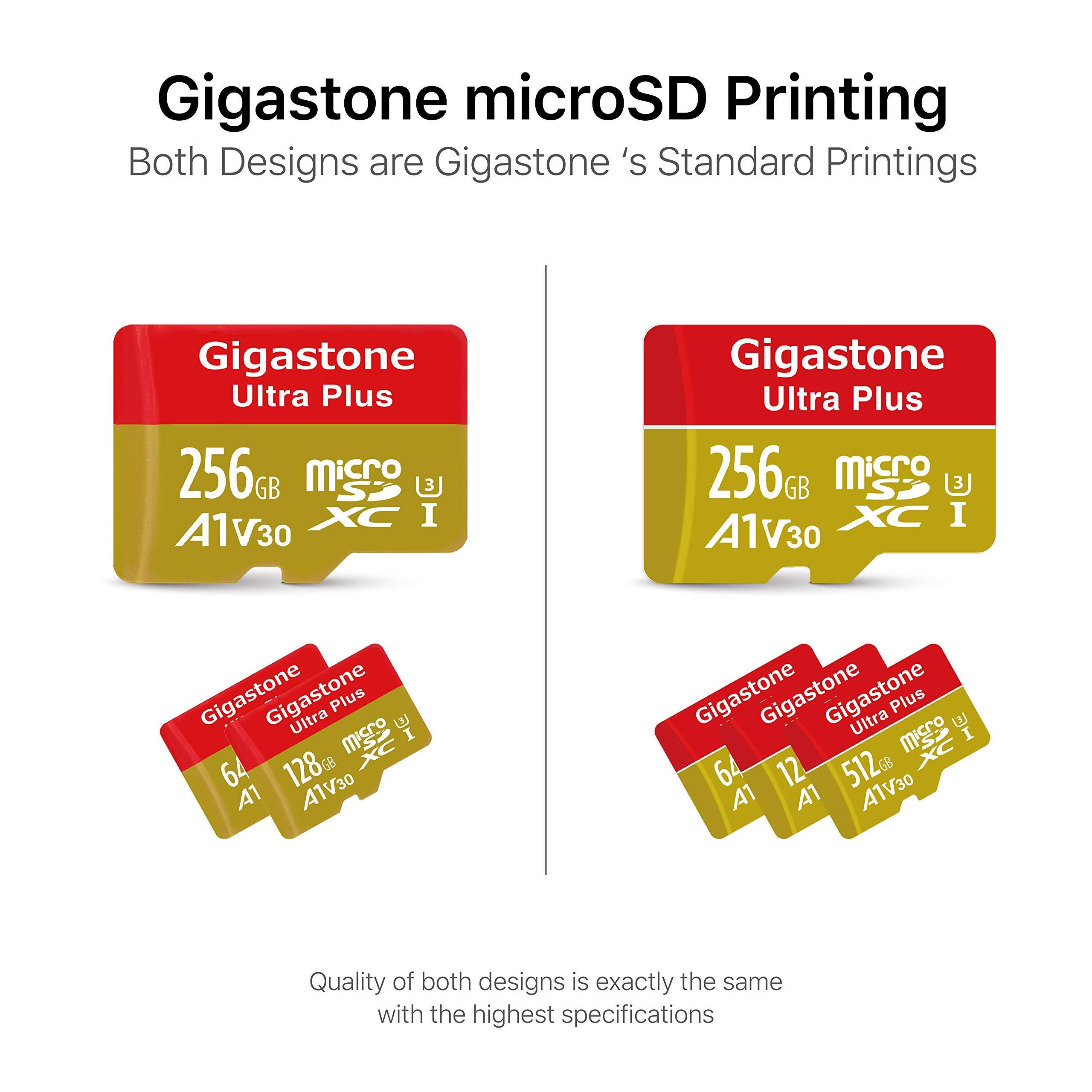 Gigastone 512GB Micro SD Card A1 V30 U3 C10 Class 10 Micro SDXC UHS-I Memory Card with MicroSD to SD Adapter High Speed 4K Ultra HD Video Camera Canon Dashcam DJI Drone Gopro Nikon Nintendo Samsung