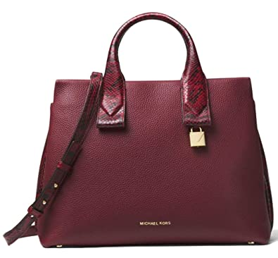 fb192c9333b8 Amazon.com  MICHAEL Michael Kors Rollins Large Snake-Embossed Leather  Satchel Bag