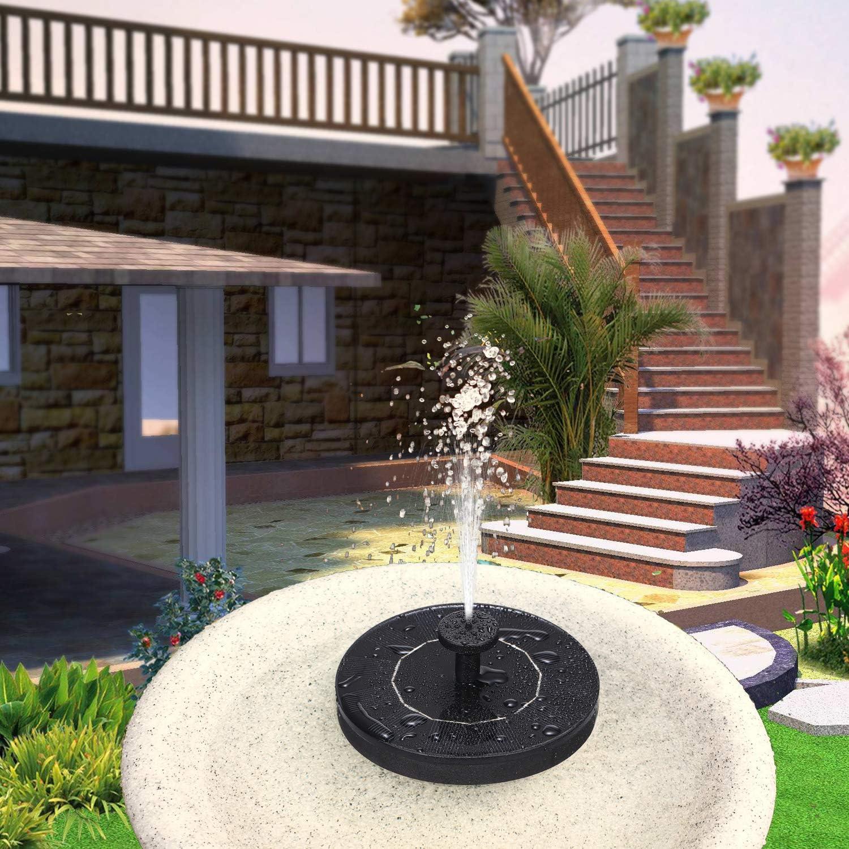 Decdeal Solar Springbrunnen Teichpumpe 1W Outdoor Wasserpumpe Brunnen Schwimmender Brunnen 4 Brunnenarten Geeignet f/ür Vogelb/äder Aquarien Kleine Teiche G/ärten
