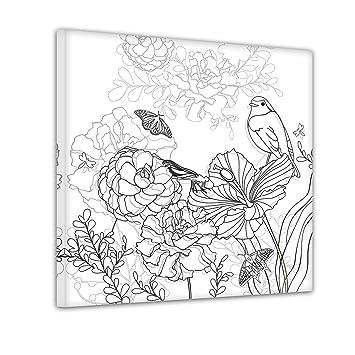 Bilderdepot24 Blumen Vogel Schmetterlinge Ausmalbild Auf Leinwand