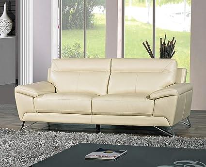 Cortesi Home Phoenix Genuine Leather Sofa, Cream 80\
