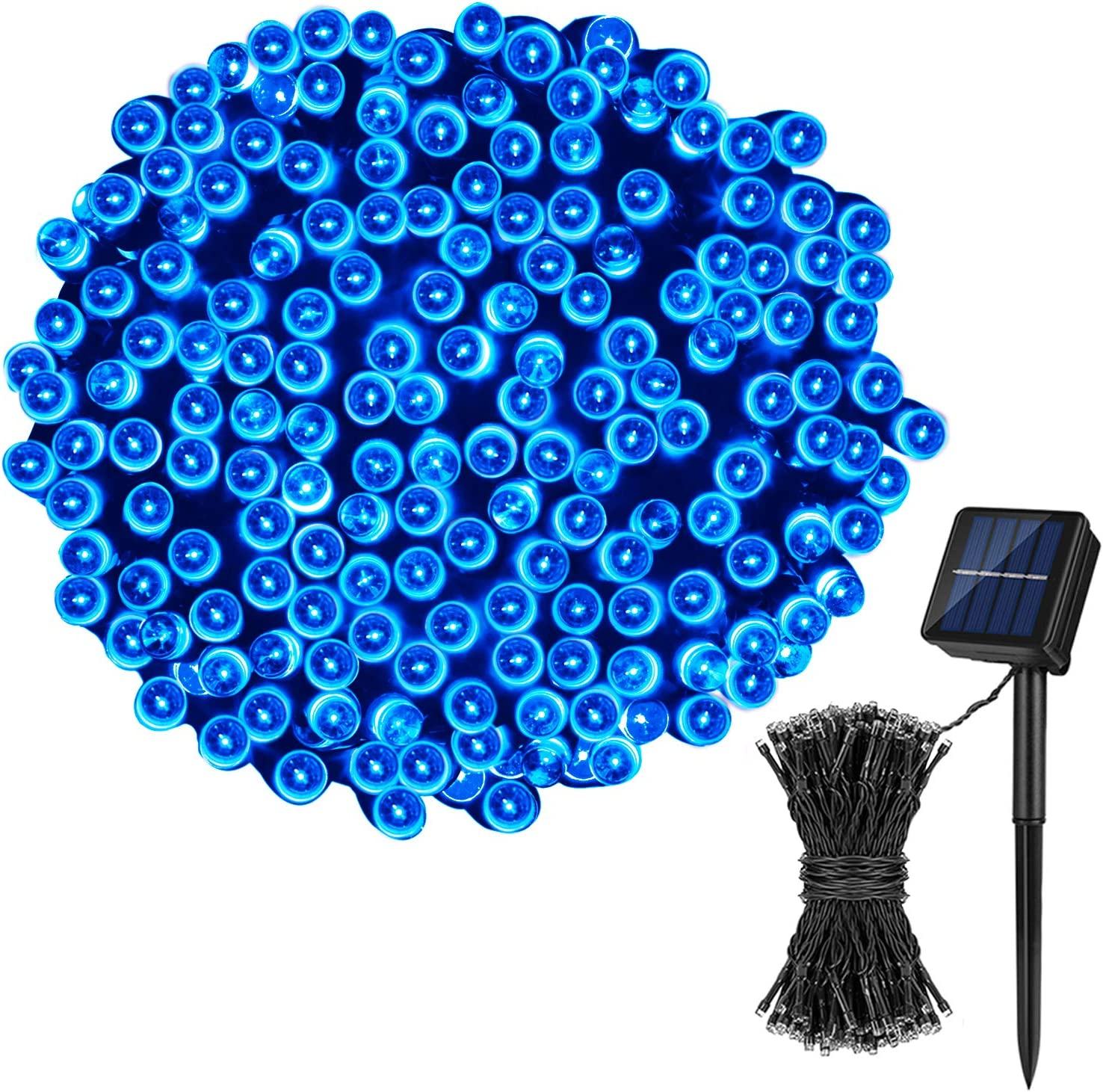 2X LED Solar Power Fairy Lights 12M String Outdoor Party Wedding Xmas Blue light