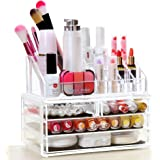 """Kaluo Stackable Acrylic Makeup Storage Organizer Set 4 Drawers and 16 Grids Cosmetic Storage Case 9.4 """"x 5.1""""x 7.2"""""""