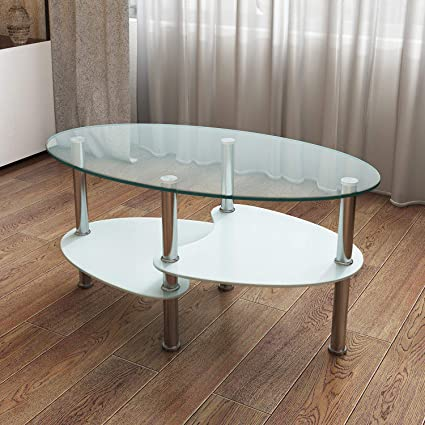 Office Home Glass Coffee Table Casual Oval Tempered Glass Stainless Steel  Double Layers (Glass)
