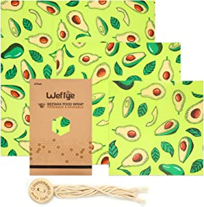 Reusable Beeswax Food Wrap, 3 Pack Eco Friendly Sustainable Food Wraps with Jojoba Oil, Plastic-Free Alternative for Food Storage, Zero Waste Bowl Cover Bread Sandwich Fruite Wrappers–3 Sizes (S,M,L)