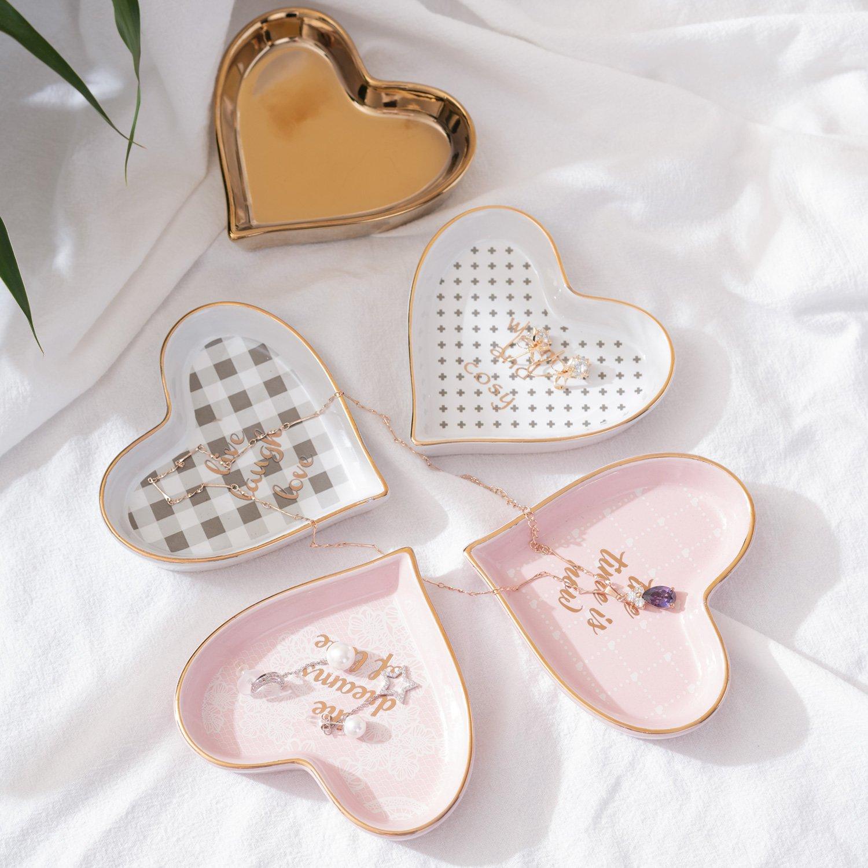 Ceramic heart shape ring dish holder Jewelry tray trinket holder for Home Decor Dish Wedding Birthday Xmas Gift (brass color)