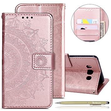 Handytasche Kompatibel mit Samsung Galaxy J7 2016 Lederhülle Luxus Mandala Blumen Prägung Muster Handyhülle Ledertasche Bookstyle Klapphülle Flip Case
