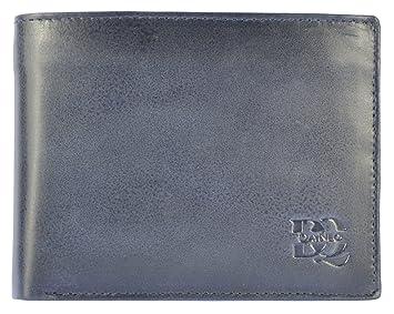 1be722b89239a HOCH WERTIG Leder Portemonnaie Geldbörse für Männer Quer Format Echt Leder  Für Viel Karten - BLAU