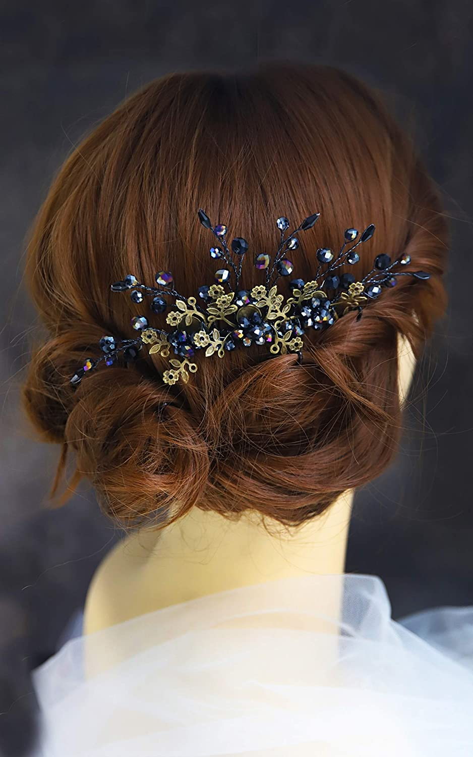 Kercisbeauty Wedding Bridal Bridesmaids Black Crystal Bronze Flower Gothic Hair Comb Slide for Prom,Bun Hair Accessory,Halloween,Ball