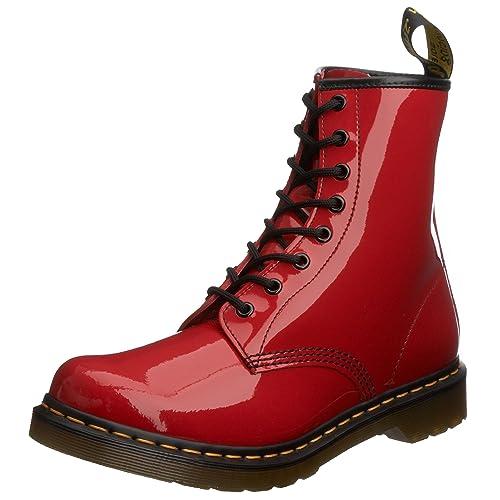 8434a9d0ee8 Dr. Martens Air Wair 1460 Mujer Rojo Charol Zapatos Botas Talla Nuevo EU 36