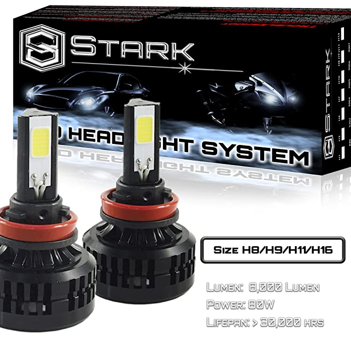 80W All-in-One 360° LED Headlights - Cool White 6000K 6K - Low Beam/ High Beam/ Fog Light Bulbs - Super White - 8,000 Lm - H8 / H9 / H11