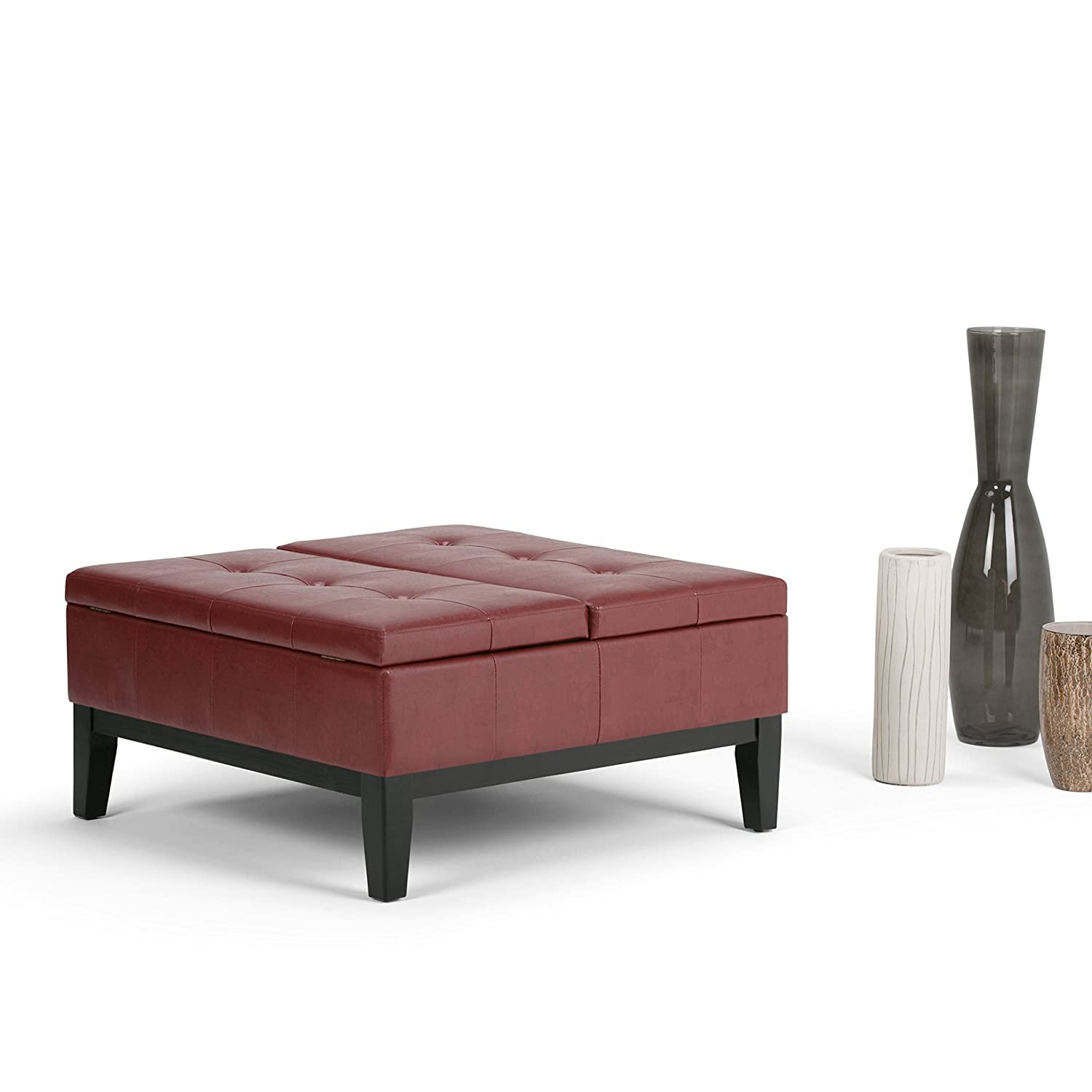 Amazon.com: Simpli Home Dover Square Coffee Table Ottoman With Split Lift  Up Lid, Radicchio Red: Kitchen U0026 Dining
