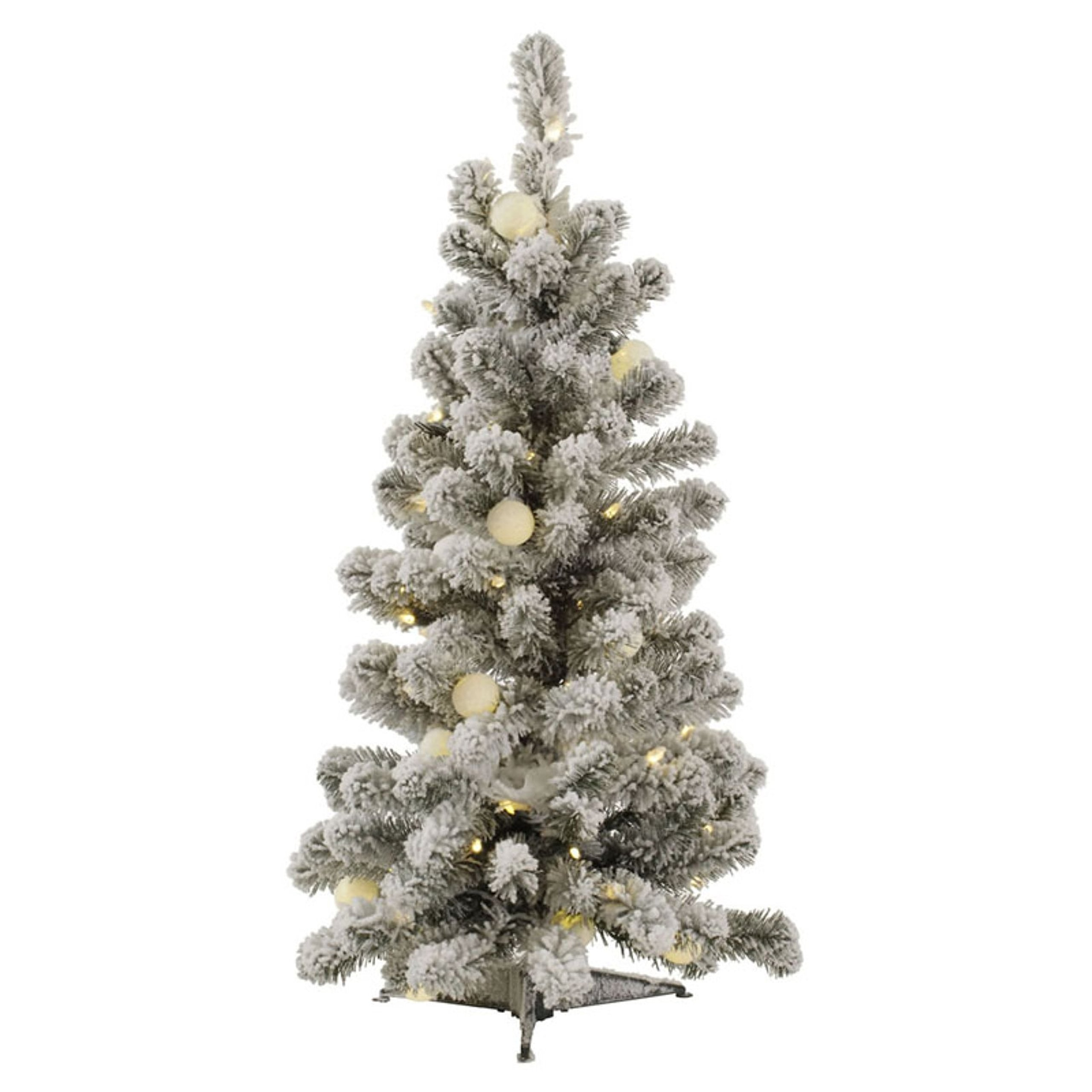 3Ft Flocked Kodiak Spruce Artificial Christmas Tree with Multi-Colored 50/15G40 LED Lights by Vicker Man