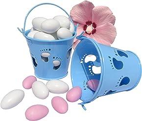 EinsSein 5X Mini Eimer Taufe Füßchen hellblau Gastgeschenke Taufe Weihe Minieimer Taufmandeln Junge Baby Shower kartonage Kinderwagen Babyshower Boy füsse blau tütchen Box Geschenkboxen Kartonagen