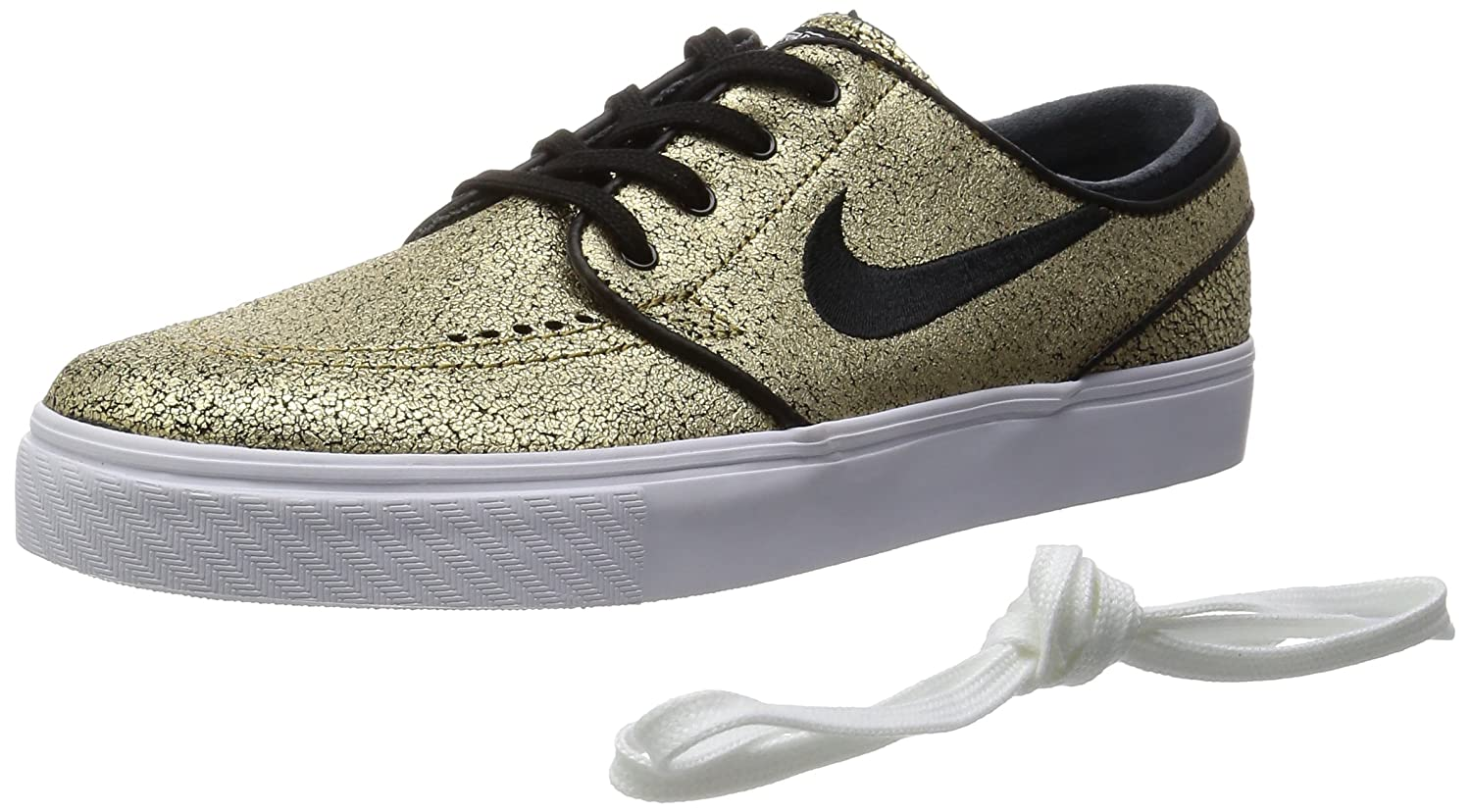 sports shoes d5a94 8cb2d Amazon.com   Nike SB Zoom Stefan Janoski Leather Metallic Gold White Gum  Light Brown Black Skate Shoes-Men 9.5, Women 11.0   Skateboarding