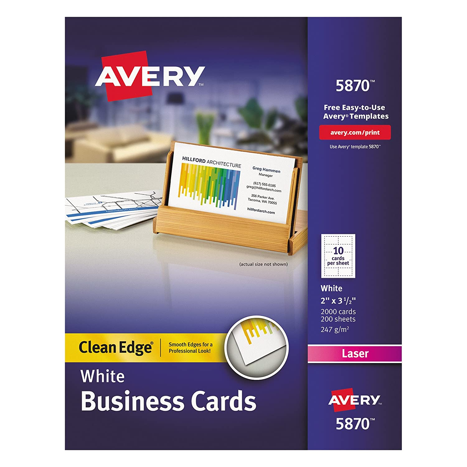 Amazon avery clean edge laser business cards white 2 x 35 amazon avery clean edge laser business cards white 2 x 35 inches box of 2000 5870 business card stock office products wajeb Gallery