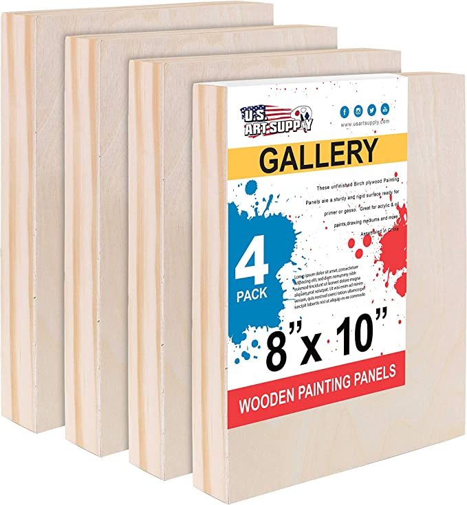U S Art Supply 8 X 10 Birch Wood Paint Pouring Panel Boards Gallery 1 1 2 Deep Cradle Pack Of 4 Artist Depth Wooden Wall Canvases Painting Mixed Media Craft Acrylic Oil Encaust Amazon Com