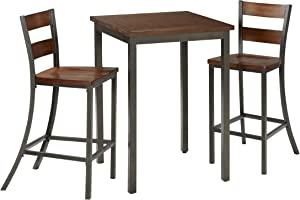 Home Styles Cabin Creek Chestnut Three-piece Bistro Set with Table, Two Bar Stools, Distressed Finish, and Hardwood Table Top