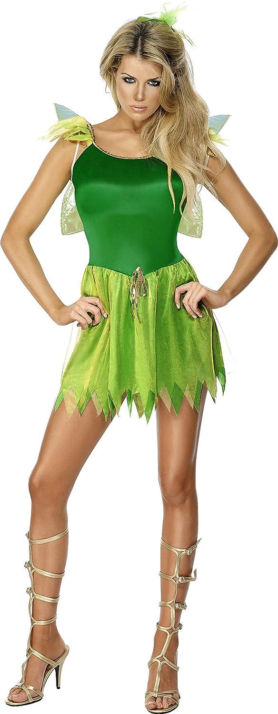 Smiffys, Damen Waldfee Kostüm, Kleid, Haarschmuck und Flügel, Größe ...