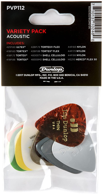 Amazon.com: Dunlop Acoustic Variety Pack Púas para guitarra ...