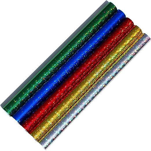 Finest Folia Juego de 5 láminas Adhesivas con Holograma y Purpurina para Decorar (100 x 33 cm): Amazon.es: Juguetes y juegos