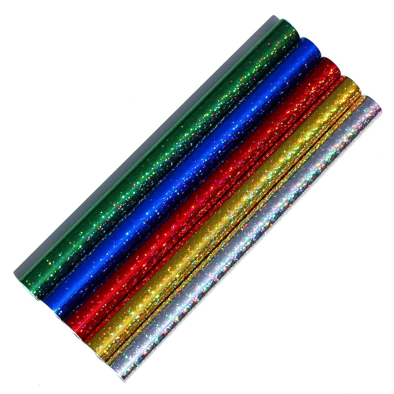 100 x 33 cm Finest Folia Juego de 5 l/áminas Adhesivas con Holograma y Purpurina para Decorar