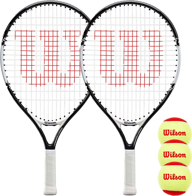 19, 21, 23 25 /& 26 Wilson Federer Junior Tennis Racket Twin Pack /& 3 Tennis Balls