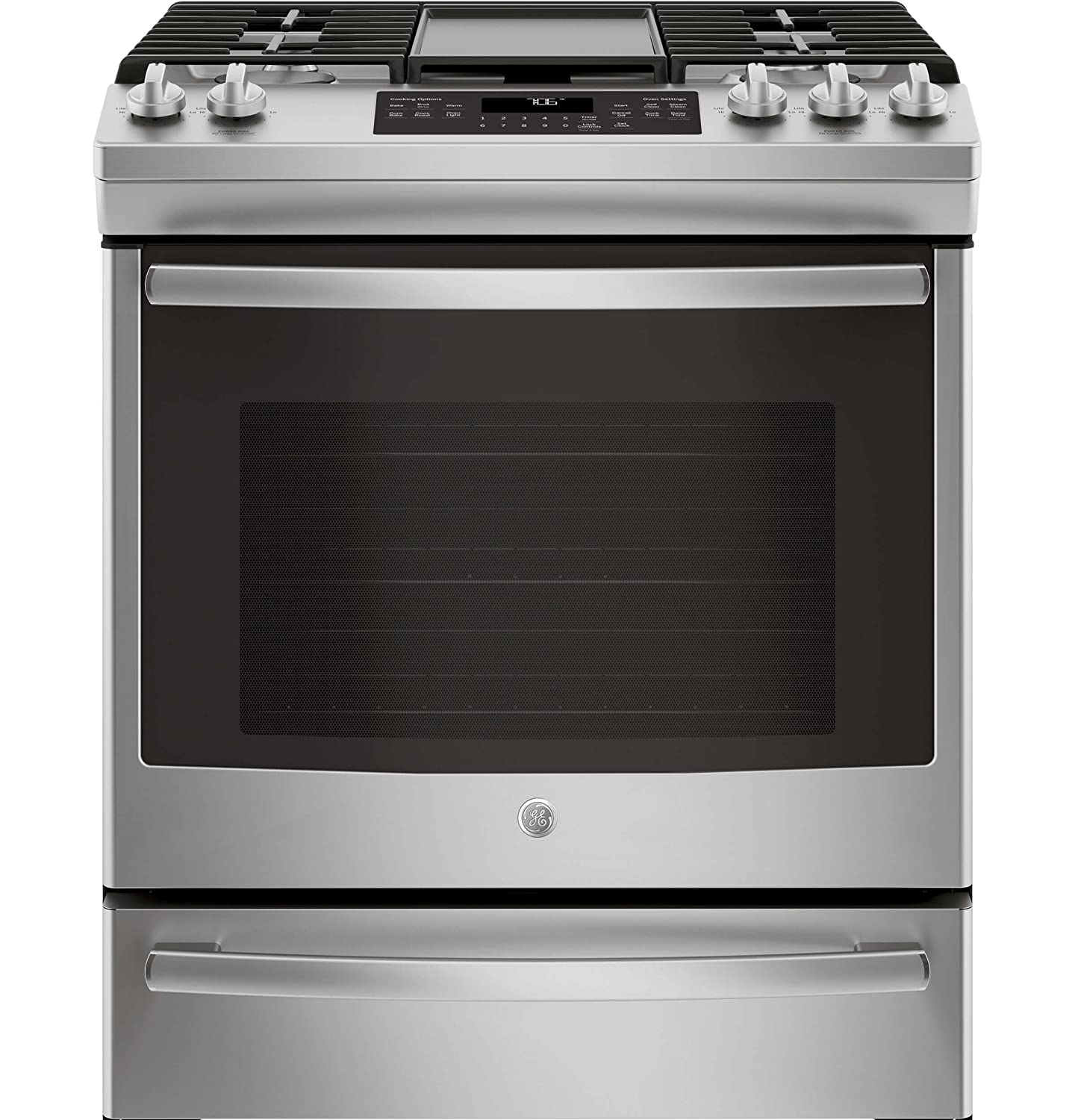 GE JGS760SELSS 30 Inch Slide-in Gas Range with Sealed Burner Cooktop, 5.6 cu. ft. Primary Oven Capacity, in Stainless Steel G.E.