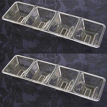 Bandejas desechables de plástico para alimentos, 4 compartimentos, para fiestas