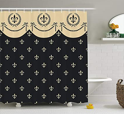 French Decor Shower Curtain By Seamless Pattern Of Fleur De Lis Illustration Baroque Decoration