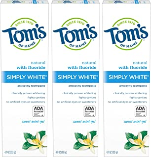 product image for Tom's of Maine Simply White Natural Toothpaste, Whitening Toothpaste, Natural Toothpaste, Sweet Mint Gel, 4.7 Ounce, 3-Pack