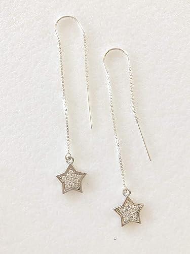 Opal Star Charm Threader Earrings Gold Plated