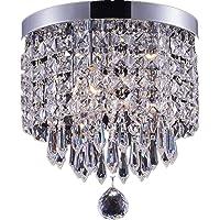 Smart Lighting 3-light modern Crystal Chandelier, Flush Mount Crystal Ceiling Light, Chrome Finish Pendent Light for Hallway, Bedroom, Kitchen, Kids Room, W9.84×H9.85 Inches, LED Bulbs Included