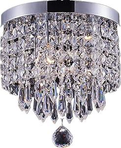 SHUPREGU Smart Lighting 3-Light Modern Crystal Chandelier, Flush Mount Crystal Ceiling Light, Chrome Finish Pendent Light for Hallway, Bedroom, Kitchen, Dimmer LED Bulbs Included
