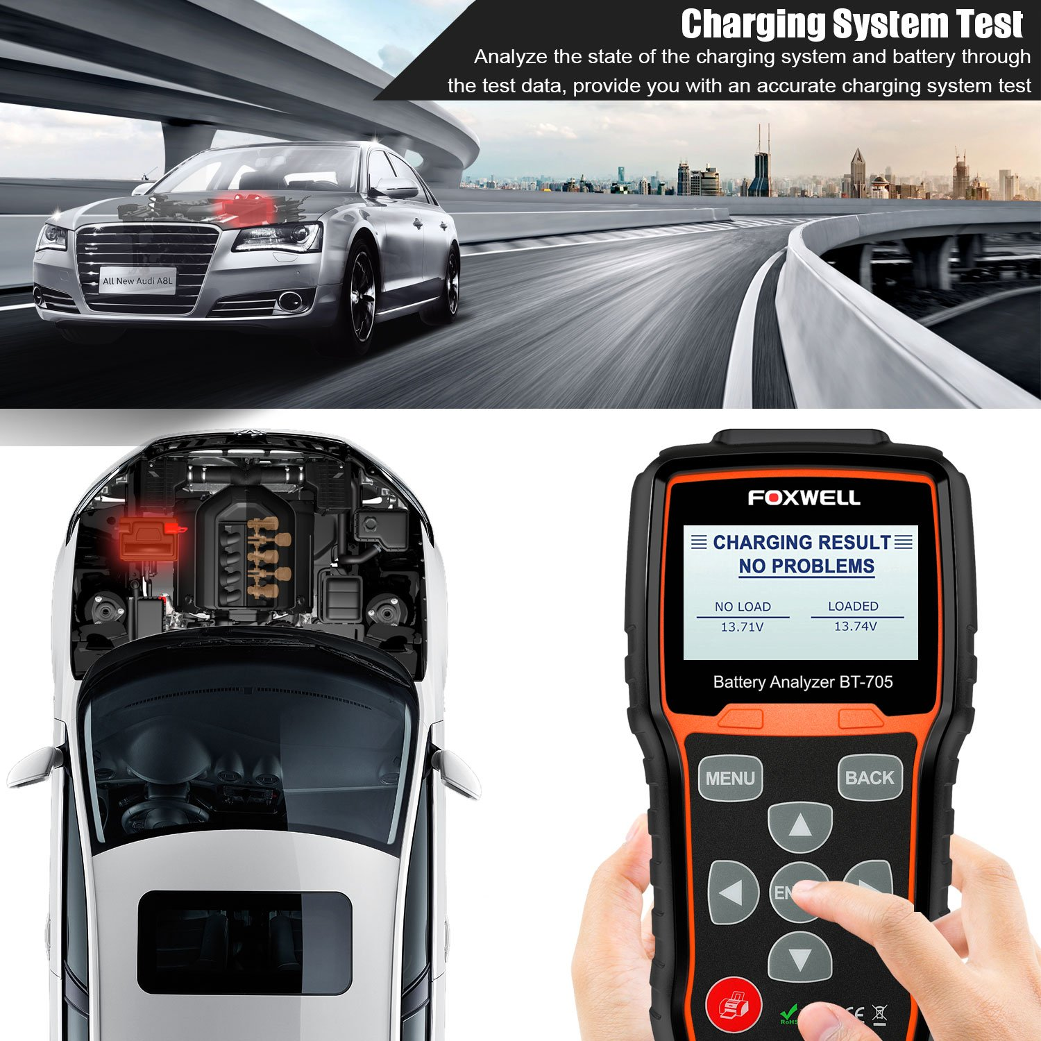 FOXWELL Battery Tester BT705 Automotive 100-2000 CCA Battery Load Tester 12V 24V Car Cranking and Charging System Test Tool Digital Battery Analyzer for Cars and Heavy Duty Trucks by FOXWELL (Image #6)